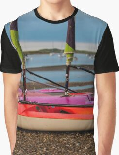Red Sailing Dingy To Sail - British Coast And Beach  Graphic T-Shirt