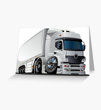 cartoon delivery / cargo semi-truck Greeting Card
