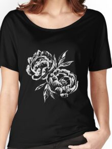 Black and White Peony  Women's Relaxed Fit T-Shirt