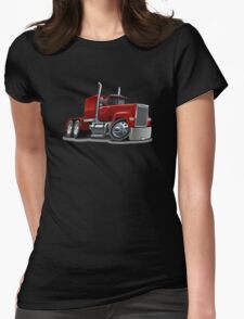 Cartoon Semi Truck Womens Fitted T-Shirt