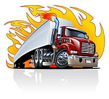 Cartoon Semi Truck Photographic Print