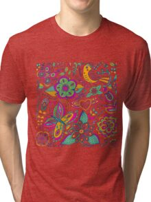 Colorful retro pattern with flowers butterflies and birds Tri-blend T-Shirt