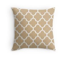 Tan Quatrefoil Pattern Throw Pillow