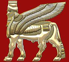 Babylonian Winged Bull Lamassu [Gold] by Captain7