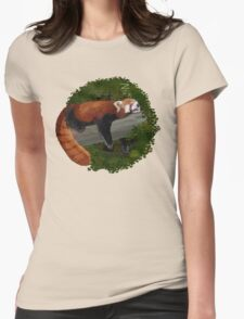 Sleepy Red Panda  Womens Fitted T-Shirt