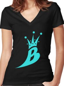 Lil' Kim The Queen Bee Collection Logo - Sky Blue  Edition Women's Fitted V-Neck T-Shirt