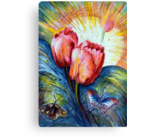 Tulips and butterfly Canvas Print