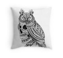 Great Horned Skull Throw Pillow