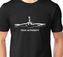 Fuck Authority (Barbwire) white print Unisex T-Shirt
