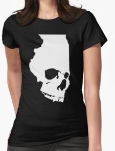 Skullinois (White Graphic) Womens Fitted T-Shirt