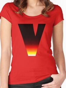 """""""V"""" Letter Comic Book Style Women's Fitted Scoop T-Shirt"""