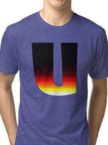 """U"" Letter Comic Book Style Tri-blend T-Shirt"