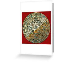 Ancient Mayan (Aztec) Calendar (Jade & Gold)  Greeting Card