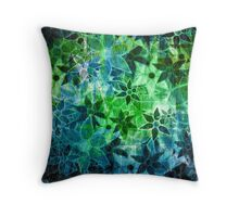 Green Vintage Flower Pattern Throw Pillow