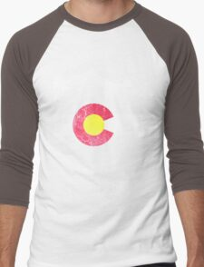 Vintage Colorado Skyline Flag Men's Baseball ¾ T-Shirt