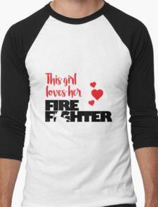 This Girl Loves Her Firefighter Men's Baseball ¾ T-Shirt