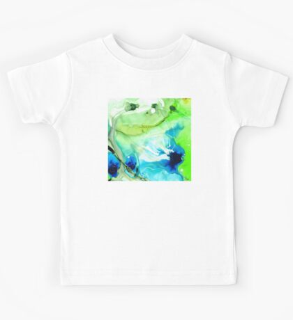 Blue And Green Abstract - Land And Sea - Sharon Cummings Kids Tee