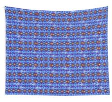 Blue stained glass window flicker Wall Tapestry