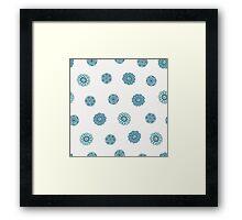Blue doodle floral seamless pattern. Hand drawn background. Framed Print