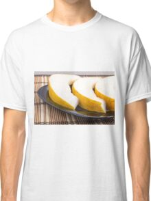 Juicy yellow melon on wooden background Classic T-Shirt