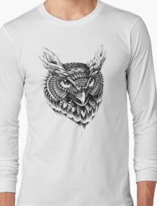 Ornate Owl Head Long Sleeve T-Shirt