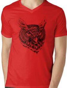 Ornate Owl Head Mens V-Neck T-Shirt