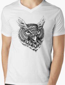 Ornate Owl Head Mens V-Neck T-Shirt