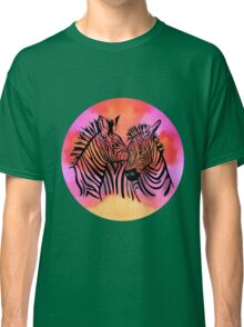 portrait of two zebras together Classic T-Shirt