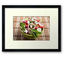Green bowl with tasty and wholesome vegetarian meal Framed Print