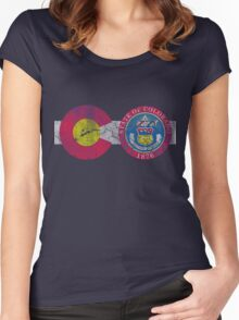 Vintage Colorado Flag CO Travel Women's Fitted Scoop T-Shirt