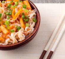 Asian dish of rice noodle and vegetable seasonings Sticker