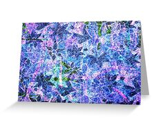 Blue and Purple Vintage Flower Pattern Greeting Card