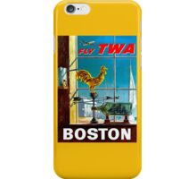 """TWA AIRLINES"" Fly to Boston Advertising Poster iPhone Case/Skin"