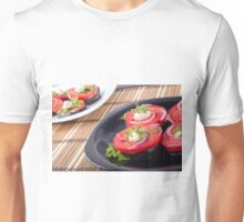 Vegetable dishes of stewed eggplant and fresh red tomato Unisex T-Shirt