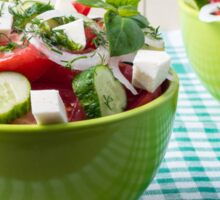 Useful vegetarian food from raw tomatoes, cucumbers and onions Sticker