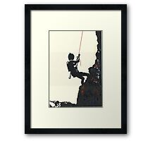 Climbing on Red Rope Framed Print