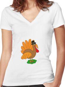 Thanksgiving turkey - transparent Women's Fitted V-Neck T-Shirt