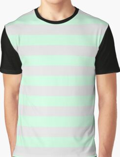 Summer Mint Green and Light Gray Horizontal Circus Tent Stripes Graphic T-Shirt