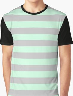 Summer Mint Green and Gray Horizontal Circus Tent Stripes Graphic T-Shirt