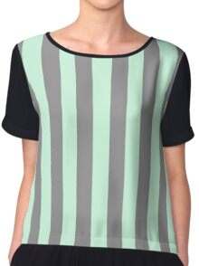 Summer Mint Green and Dark Gray Vertical Circus Tent Stripes Chiffon Top