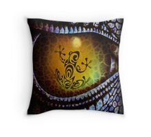 Reptile reflection in the Dragon's eye! Throw Pillow