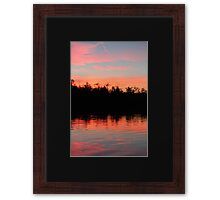 Pink Blue Peach And Black Framed Print