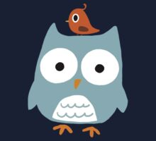 Blue Owl with Little Orange Bird Kids Clothes