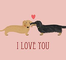 Dachshunds Love by Jenn Inashvili