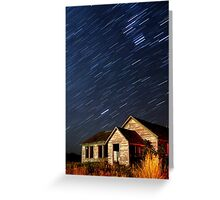 Orion Screaming Overhead - Star Trails Greeting Card