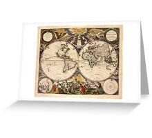 Map of the World (1672) Greeting Card