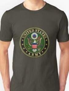 U.S. Army Emblem 3D on Green Velvet T-Shirt