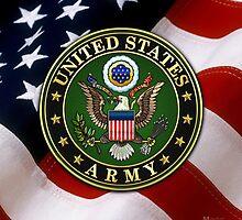 U.S. Army Emblem 3D on Green Velvet by Captain7