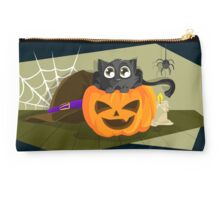 Black Cat in a Jack-o-lantern Studio Pouch