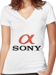 A sony Women's Fitted V-Neck T-Shirt